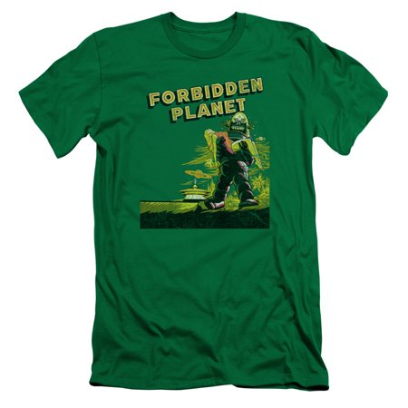 Forbidden Planet Classic Science Fiction Movie Old Poster Adult Slim T-Shirt Tee (Classic Adult Movies)