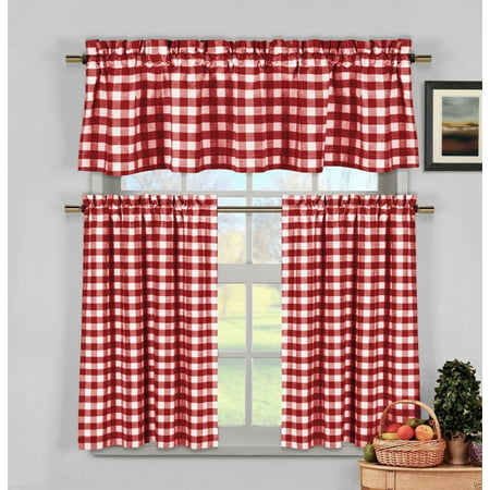 Candy Apple Red Gingham Checkered Plaid Kitchen Tier Curtain Valance ...