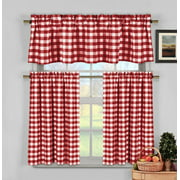 Candy Apple Red Gingham Checkered Plaid Kitchen Tier Curtain Valance