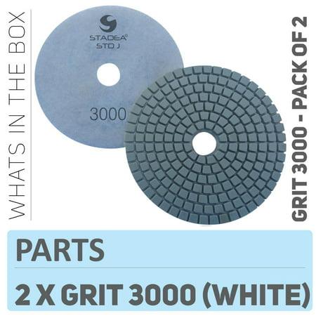 Polishing Granite Pads Concrete - Stadea PPW127D Diamond Polishing Pads 4 Inch For Concrete Terrazzo Marble Granite Countertop Floor Wet Polishing, Grit 3000 - Pack of 2