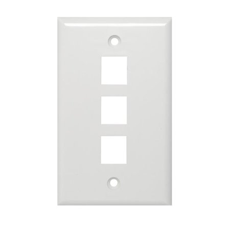 Channel Vision CVG-3GW 3 Jack Gang Plate - White Channel Vision Wall Plate