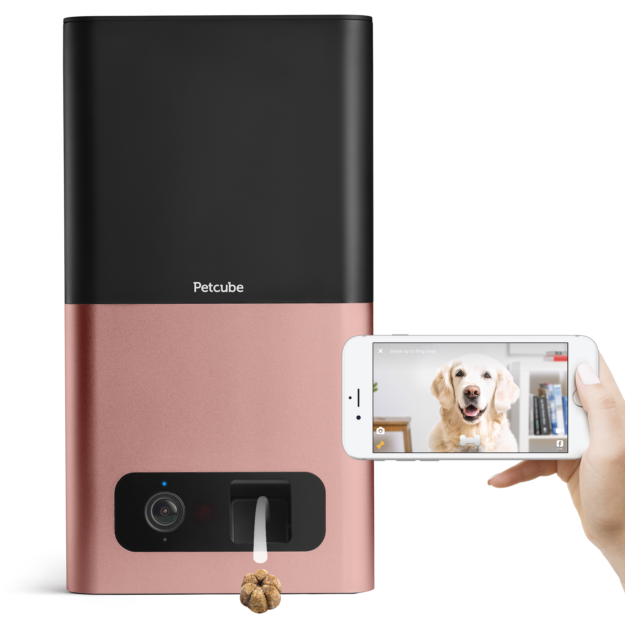 Petcube Bites Wi-Fi Pet Camera and Treat Dispenser (Rose Gold)
