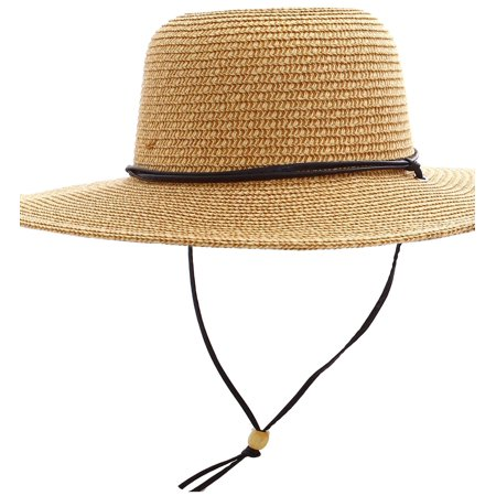 4cb068661e21c7 Simplicity - Women's UPF 50+ Wide Brim Braided Straw Sun Hat with Lanyard  Natural-Brown - Walmart.com