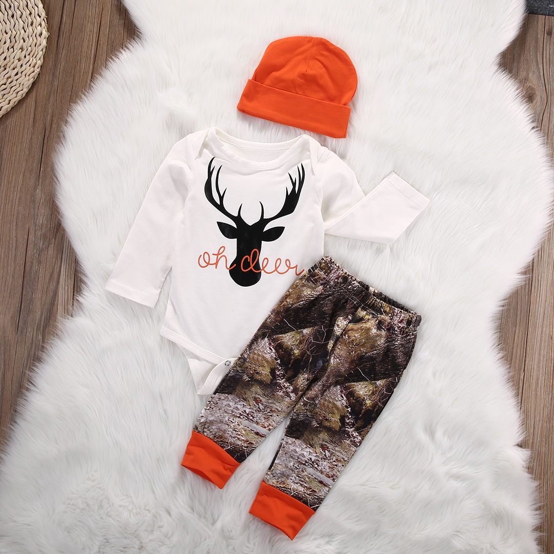 Organic Toddler Baby Boy Girl Deer Romper Long Pants 3pcs Outfits Set Clothes