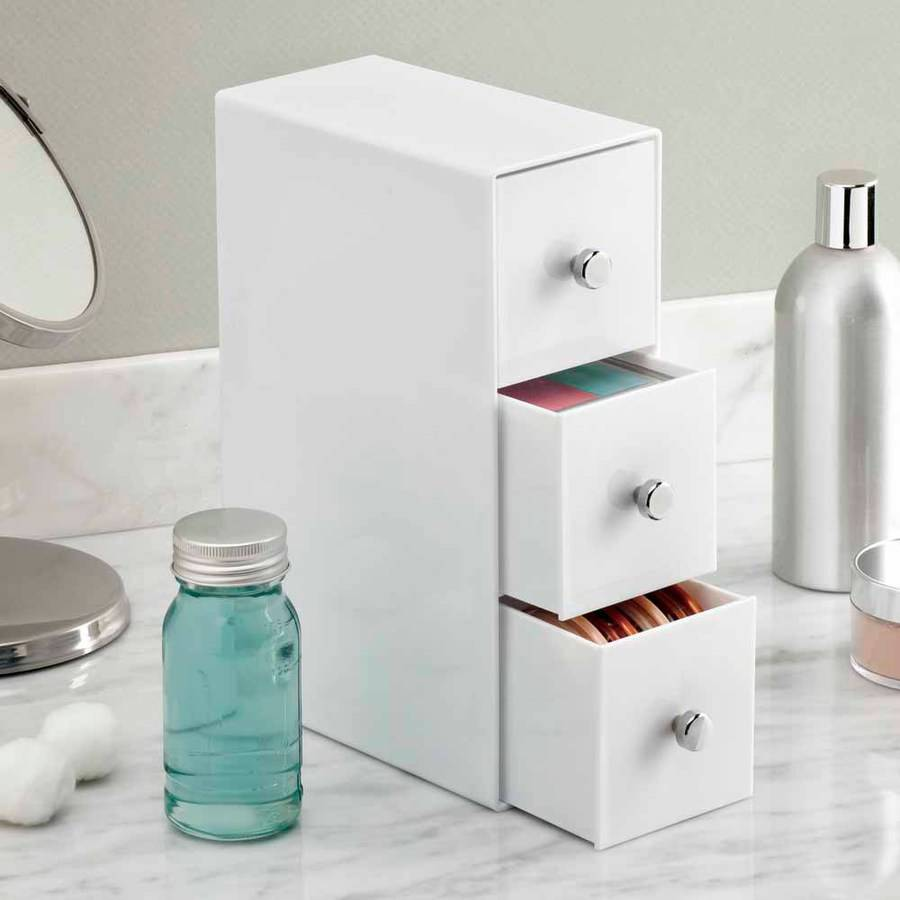 InterDesign Cosmetic Organizer For Vanity Cabinet To Hold Makeup, Beauty  Products Eyeglasses, 3 Drawers