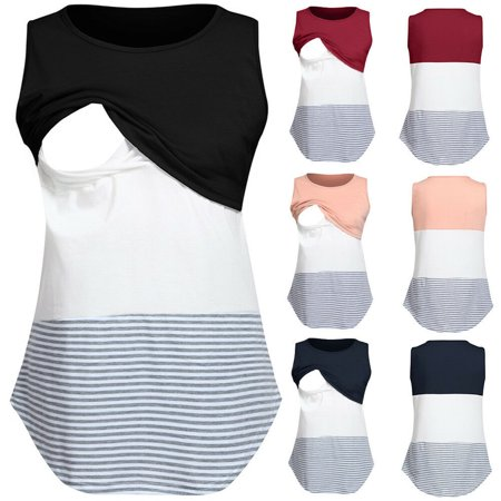 Multitrust Women Striped Maternity Clothes Breastfeeding Tops Nursing Sleeveless T-shirt