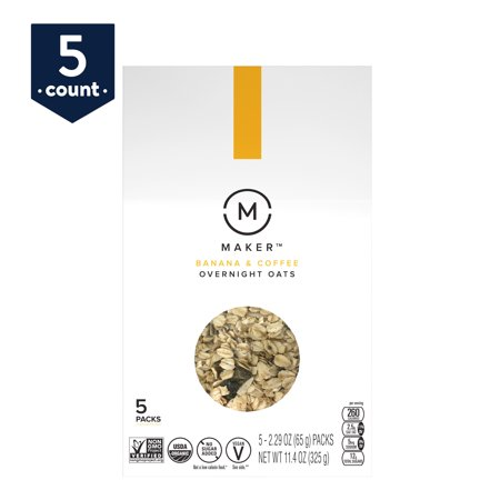 Maker Overnight Oats, Banana & Coffee Organic, No Sugar Added, 5 (Best Overnight Oats Recipe)