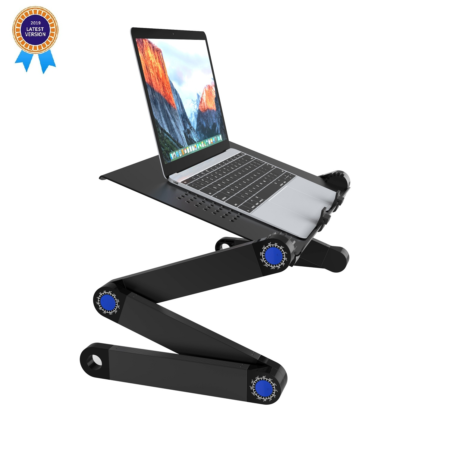 SLYPNOS Executive Office Solutions Portable Adjustable Aluminum Laptop Desk/Stand-Notebook-Light Weight Ergonomic TV Bed Lap Tray Stand Up/Sitting-Black