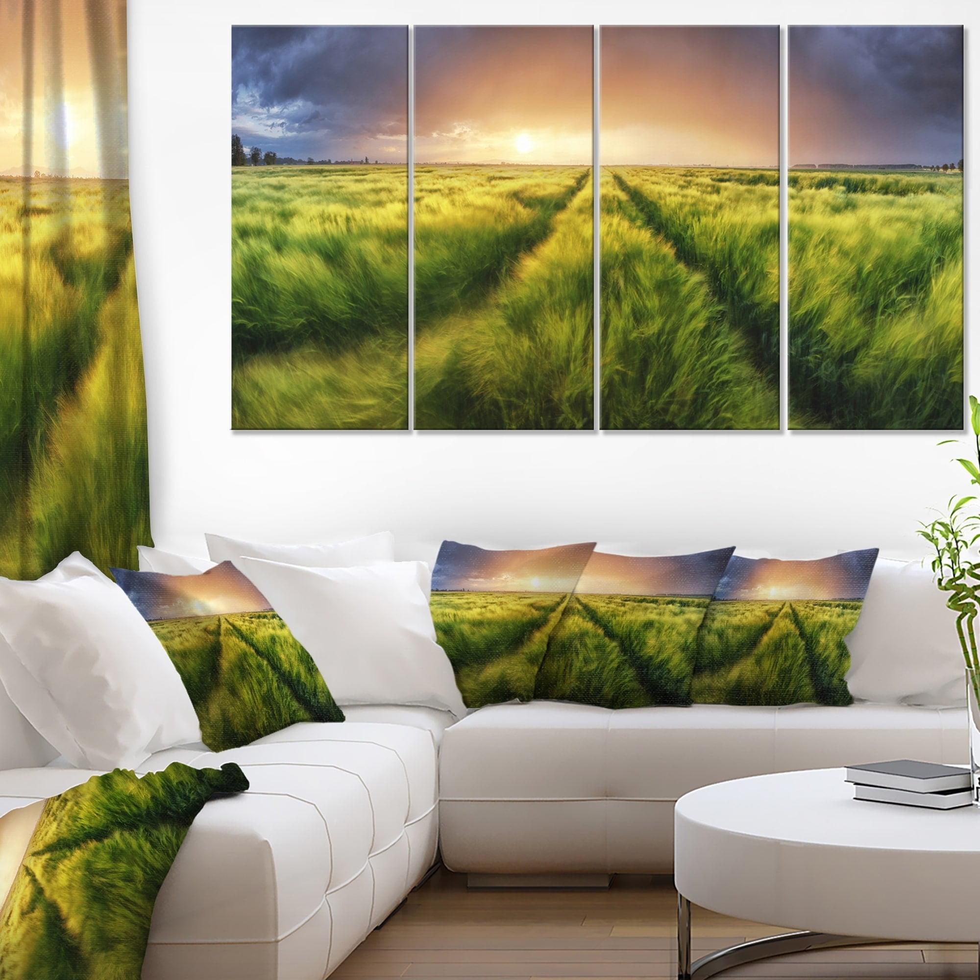 Design Art Storm And Light On Meadow Landscape Artwork Canvas Green 60 In Wide X 32 In High 5 Panels Diamond Shape Walmart Com Walmart Com