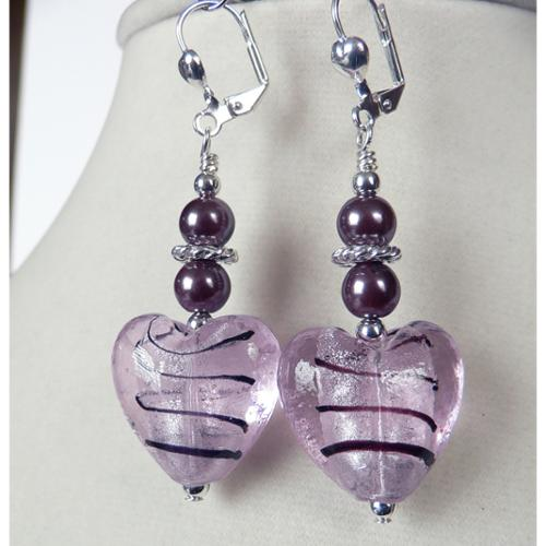 Palmtree Gems Gilda' Puffed Heart Dangle Earrings