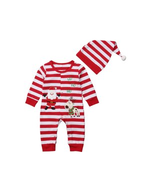 73d2beb54ae1 Product Image 2PCS Babys Christmas Outfits Long Sleeve Stripes Santa Claus  Reindeer Romper With Hat 12-18. Gaono