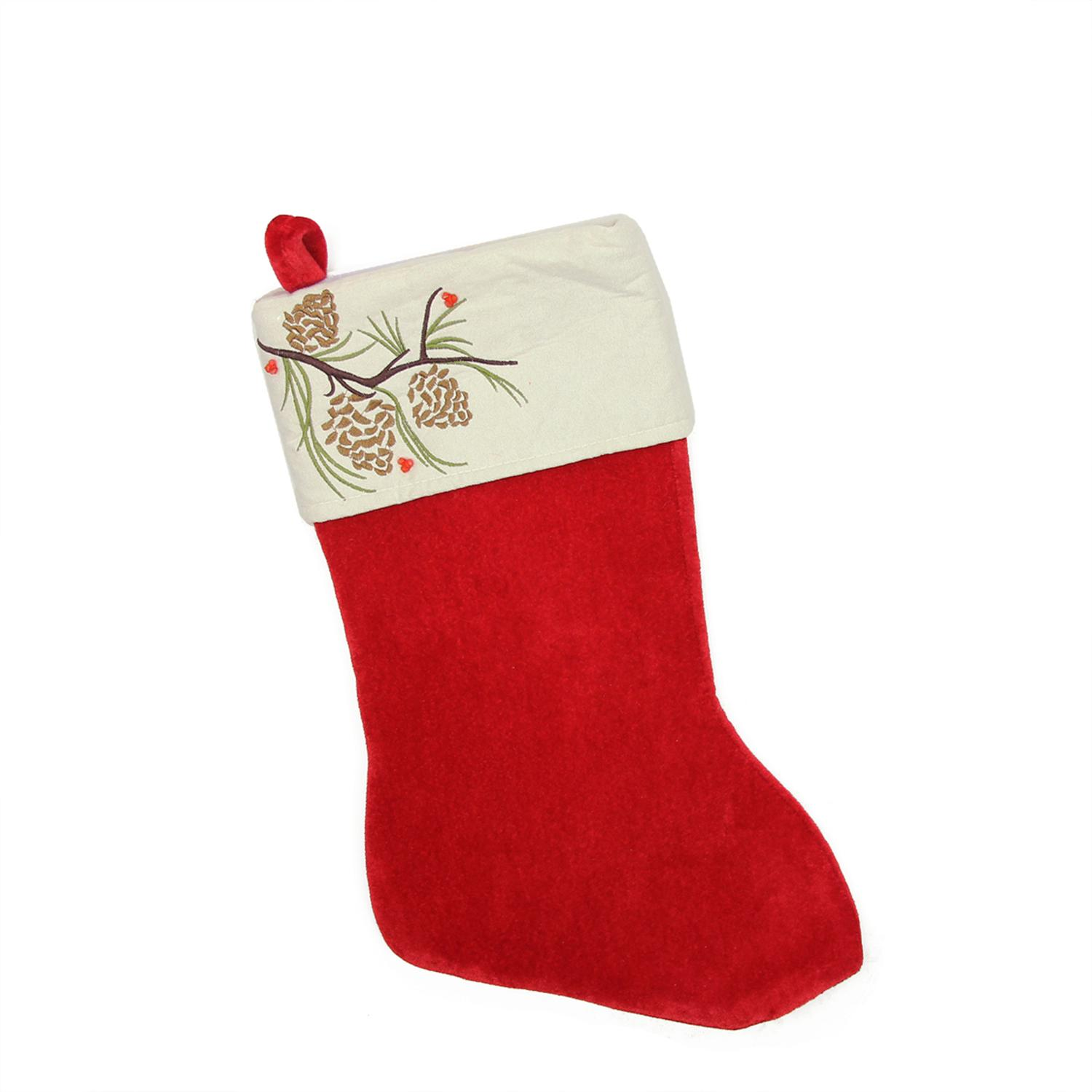 Northlight 19 Traditional Red Pine Cone Suede Cuff Christmas Stocking