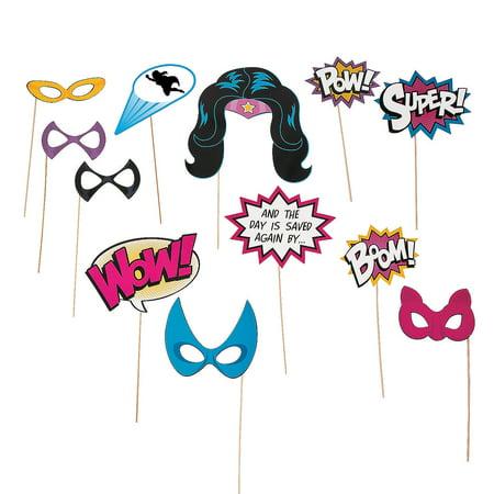 IN-13742509 Superhero Girl Photo Stick Props By Fun Express (Superhero Photo Props)
