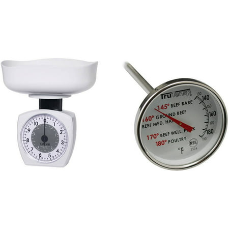 Taylor 3701KL Stainless Steel Kitchen Food Scale 11lb & 3504 Dial Meat Thermometer