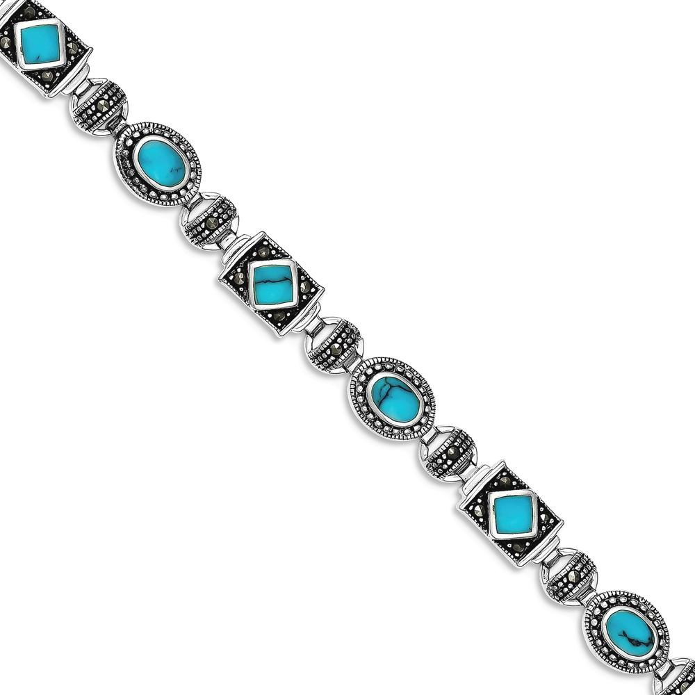 ICE CARATS ICE CARATS 925 Sterling Silver Synthetic Blue Turquoise Marcasite Bracelet 7 Inch Gemstone Fancy Fine Jewelry... by IceCarats Designer Jewelry Gift USA