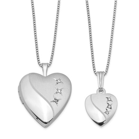 Roy Rose Jewelry Sterling Silver Diamond Polished Satin Heart Locket and Pendant Set