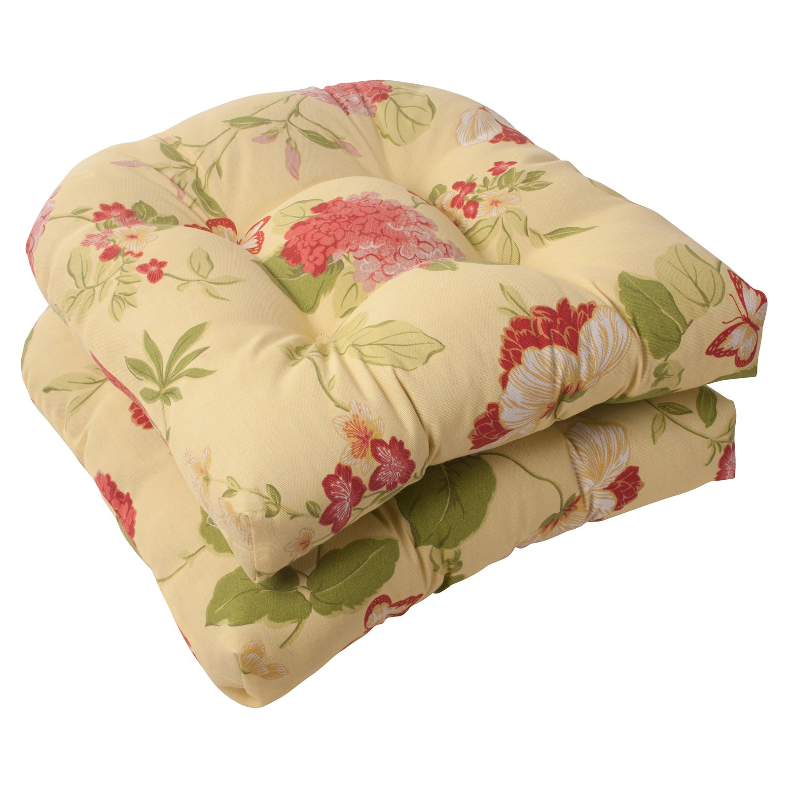 Pillow Perfect Outdoor/ Indoor Risa Lemonade Wicker Seat Cushion (Set of 2)