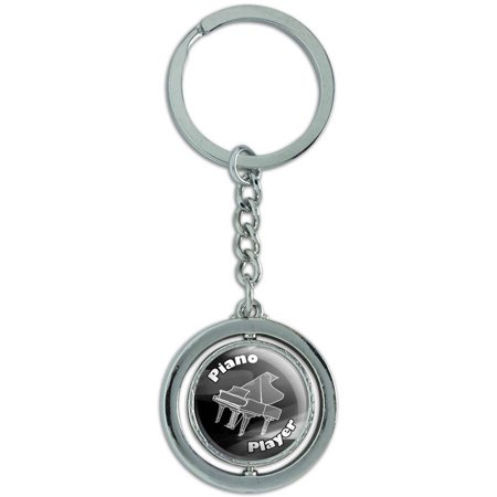 Piano Player Band Instrument Percussion Spinning Round Metal Key Chain Keychain Ring