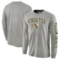 Georgia Tech Yellow Jackets Fanatics Branded Distressed Arch Over Logo Long Sleeve Hit T-Shirt - Gray