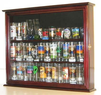 Wall Mounted Curio Cabinet Sports Shot Gl Display Case Solid Wood Door Sc04b Mah