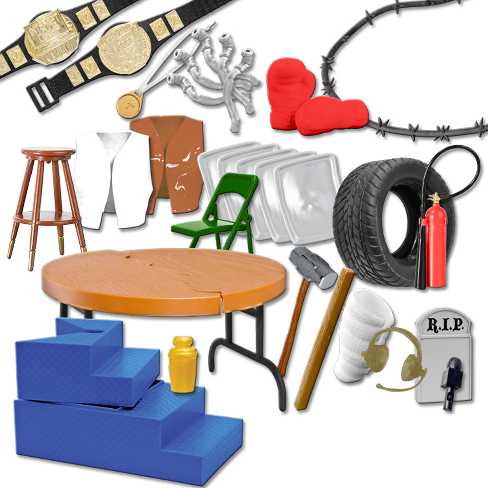 30 Piece MASSIVE Wrestling Figure Accessories Pack For WWE Wrestling Figures by