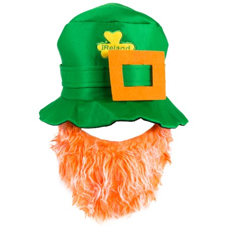 St. Patrick's Day Green Leprechaun Hat with Orange Beard One - St Pattys Day Hat