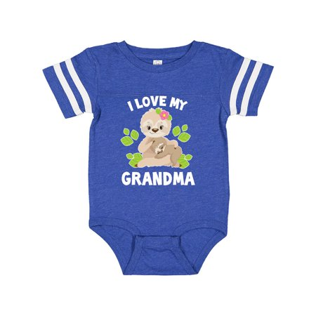 Cute Sloth I Love My Grandma with Leaves Infant Creeper