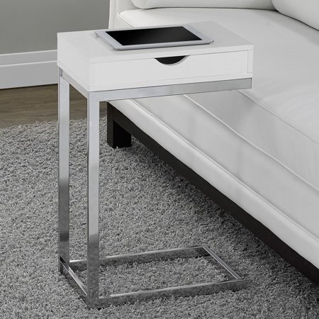 Monarch Accent Table Chrome Metal / Glossy White With A Drawer ()