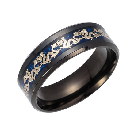 Dragon Ring Jewelry (Dragon Black or Blue Stainless Steel Comfort Fit Band Ring Ginger Lyne)