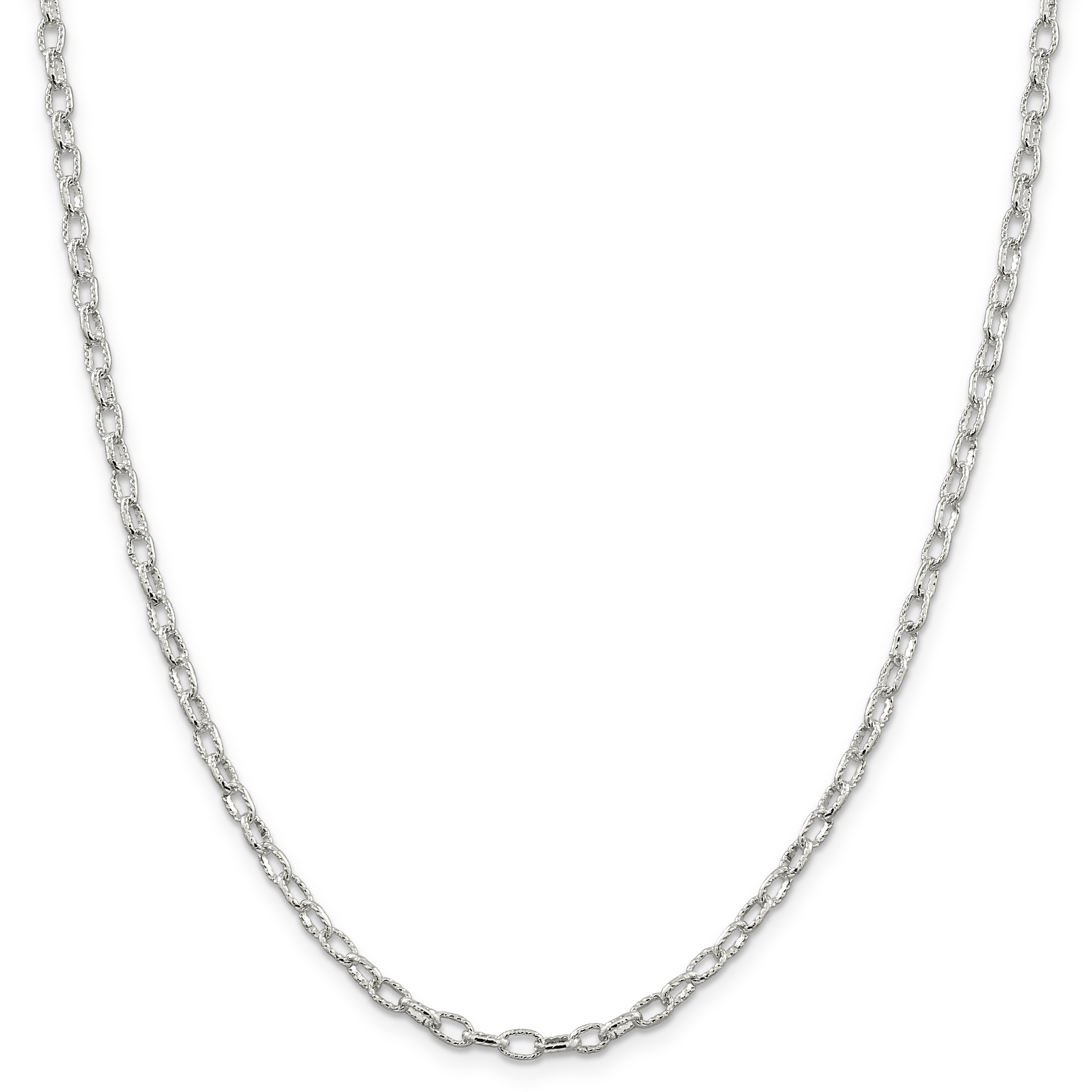 925 Sterling Silver 3.5mm Fancy Rolo Chain 30 Inch - image 5 de 5
