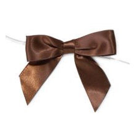 Brown Satin Twist Tie Food & Party Favor Treat Bags Packaging Bows -12ct