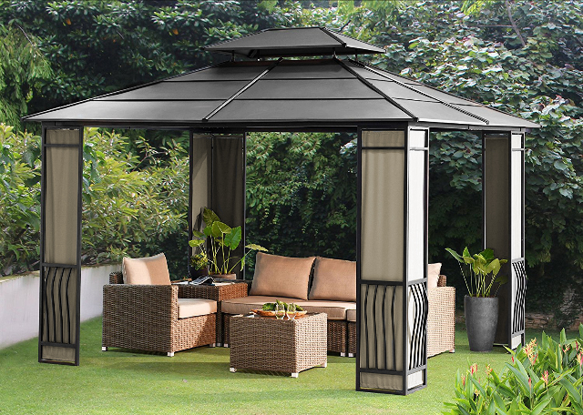 10 X 12 Heavy Duty Galvanized Steel Hardtop Wyndham Patio Gazebo With  Mosquito Netting Panels Included