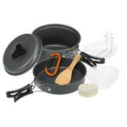 10pcs Camping Cookware Mess Kit Cookset Outdoor Cooking Equipment Pot Pan Bowls Backpacking Hiking Gear