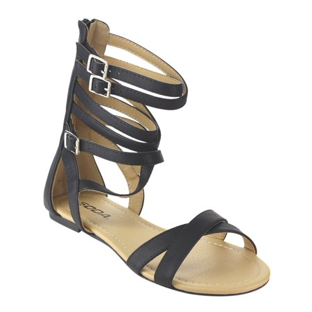 b02ef8a4bea Soda - Soda IB66 Women s Criss Cross Strappy Back Zipper Gladiator Flat  Sandals - Walmart.com