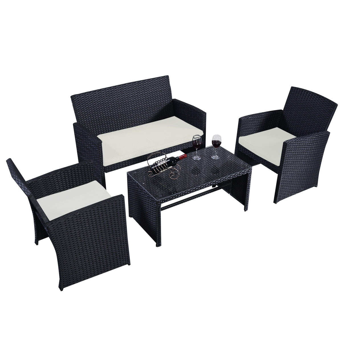 Costway 4 Pc Rattan Patio Furniture Set Garden Lawn Sofa Wicker Cushioned  Seat Black   Walmart.com