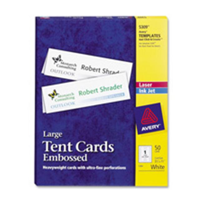 Avery Consumer Products AVE5302 Laser-Inkjet Tent Cards- Perforated- 2in.x3-.50in.- WE