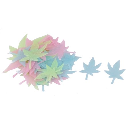 Assorted Leaves - Dormitory Maple Leaf Designed Glowing Sticker Wall Decal Assorted Color 30 in 1