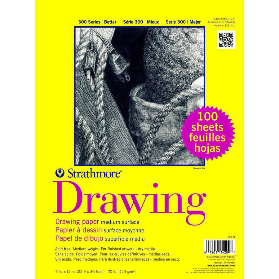 "Strathmore Series 300 70 Pound Drawing Pad, 9"" x 12"", 100 Sheets"
