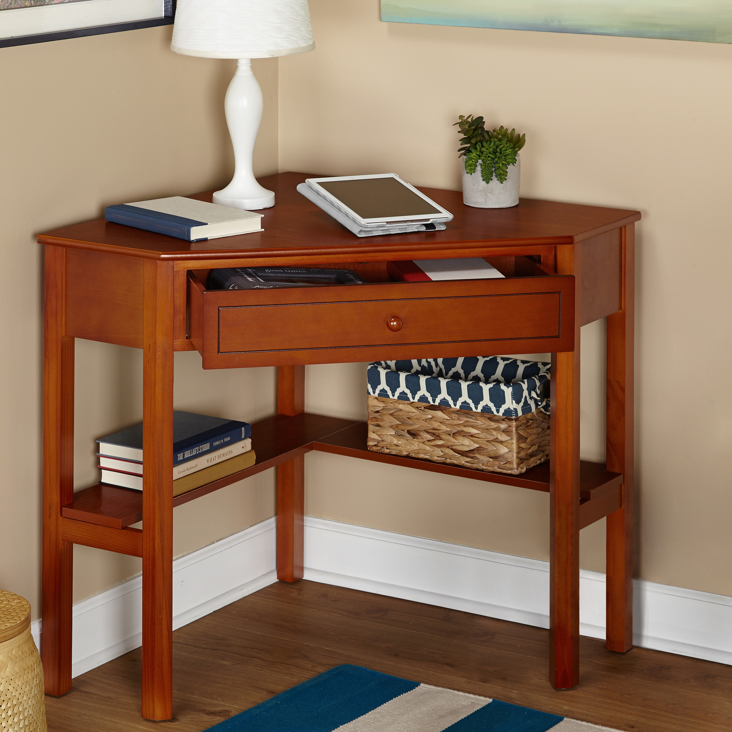 Corner Writing Desk With Pullout Drawer And Shelf Multiple Finishes Walmart Com Walmart Com