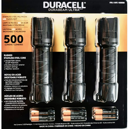 Duracell Durabeam Ultra LED Flashlight 500 Lumens, 3 Count w/ Batteries