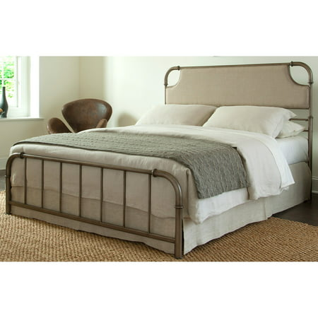 Dahlia Metal SNAP Bed with Folding Frame Bedding Support System and Sandstone Upholstered Headboard, Aged Iron Finish, Queen