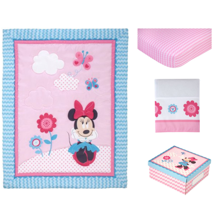480e938fe1c1 Disney Minnie Mouse Happy Day 4 Piece Crib Bedding Set - Walmart.com