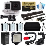GoPro HERO4 Hero 4 Silver Edition 4K Action Camera with 32GB MicroSD Card, 3x Batteries with Charger, Opteka xGrip Action Video Stabilizer, Night LED Light, Car Mount Attachment, HDMI Micro Cable