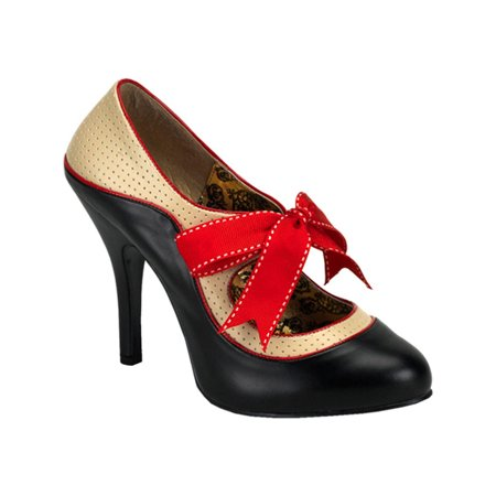 Womens Classic Mary Jane Pumps 4 1/2 Inch Heel Two Tone Shoes Red Piping Bow