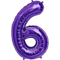 34 purple number six balloons