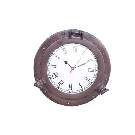 Handcrafted Decor WC-1446-15-BZ Bronzed Deluxe Class Porthole Clock& ...