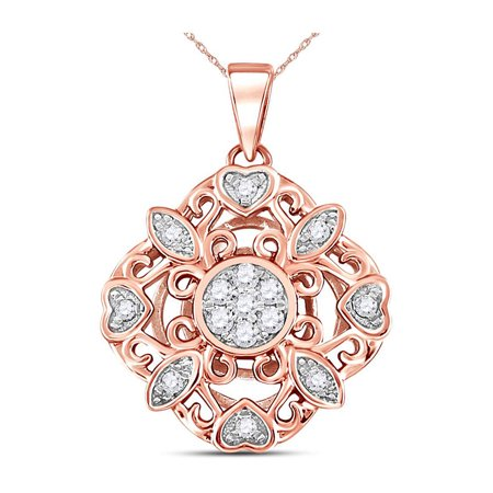 - 14kt Rose Gold Womens Round Diamond Diagonal Square Heart Cluster Pendant 1/4 Cttw
