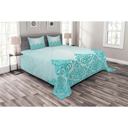Turquoise Bedspread Set, Retro Style Medieval European Victorian Gradient Royal Pale Patterns Artwork Print, Decorative Quilted Coverlet Set with Pillow Shams Included, Blue, by Ambesonne ()