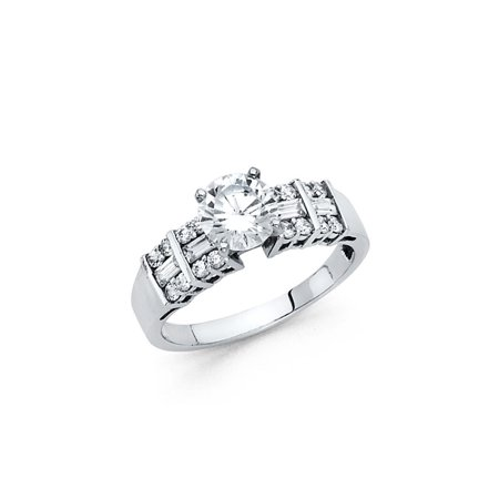 - 14K Solid White Gold Brilliant Cut Solitaire with Baguette and Round Side Stone Cubic Zirconia Engagement Ring, Size 4