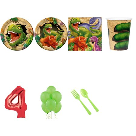 DINOSAUR ADVENTURE PARTY SUPPLIES PARTY PACK FOR 32 WITH RED #4 BALLOON (Dinosaur Birthday Party Supplies)